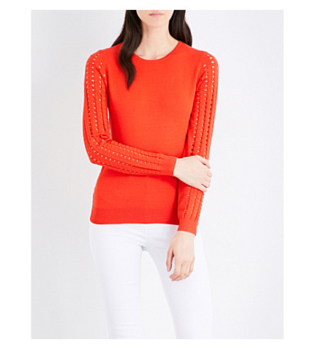 KAREN MILLEN Open-sleeves knitted top (Red