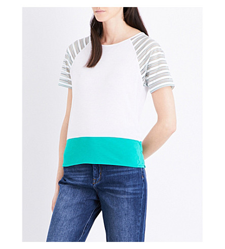 KAREN MILLEN Striped sleeve jersey T-shirt (Grey