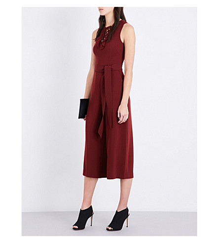 KAREN MILLEN Lace-up crepe jumpsuit (Plum/claret