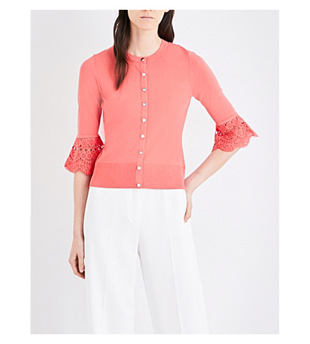 KAREN MILLEN Fluted lace-detail knitted cardigan (Coral