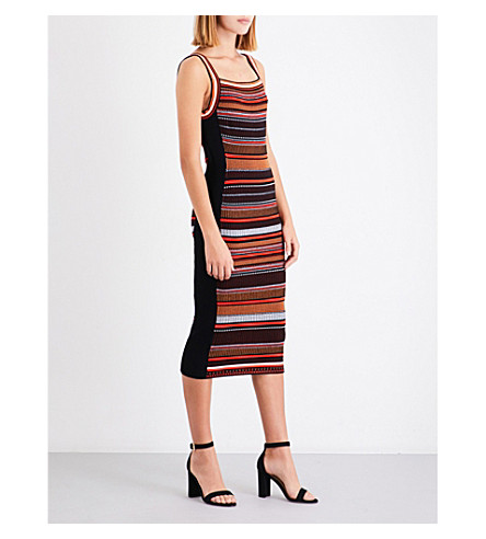 KAREN MILLEN Striped stretch-knit dress (Multi-coloured
