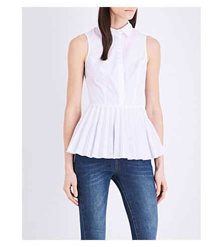 KAREN MILLEN Pleated fit-and-flare jersey top (White