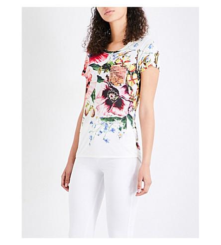 KAREN MILLEN Botanical jersey T-shirt (Grey