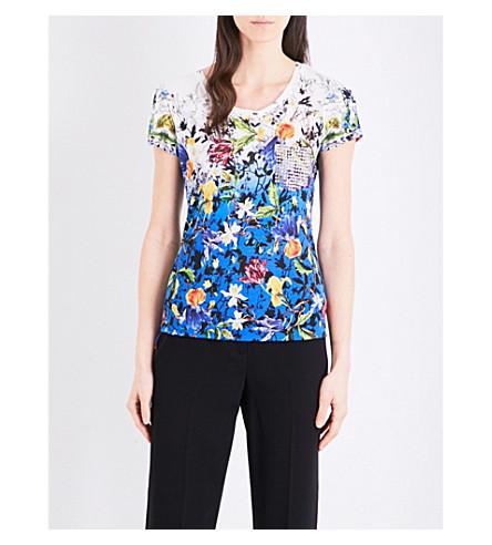 KAREN MILLEN Floral jersey T-shirt (Multi-coloured