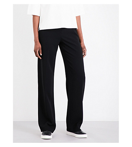 KAREN MILLEN Tailored-fit straight crepe trousers (Black
