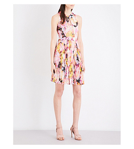 KAREN MILLEN Floral collection fit-and-flare chiffon dress (Multi-coloured