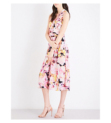 KAREN MILLEN Floral collection crepe-georgette jumpsuit (Multi-coloured