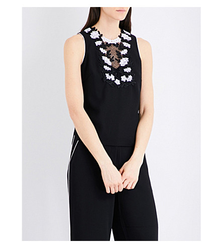 KAREN MILLEN Embroidered lace crepe top (Monochrome