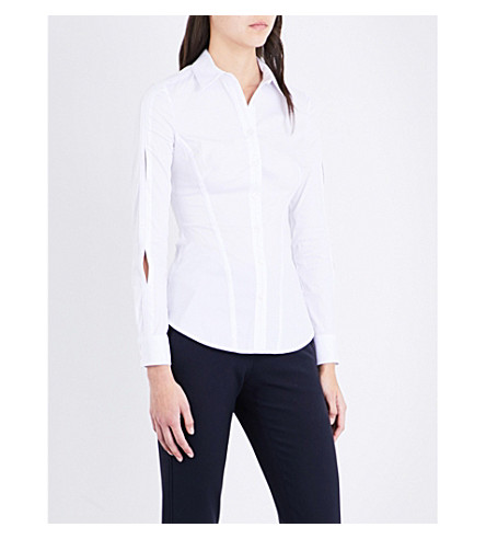 KAREN MILLEN Split-sleeve cotton-blend shirt (White