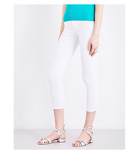 KAREN MILLEN Cropped skinny mid-rise jeans (White