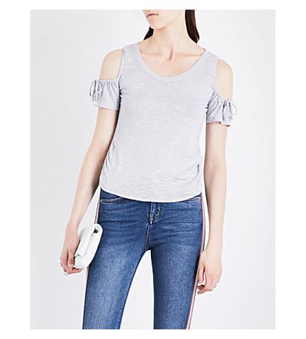 KAREN MILLEN Drawstring-sleeve jersey top (Silver