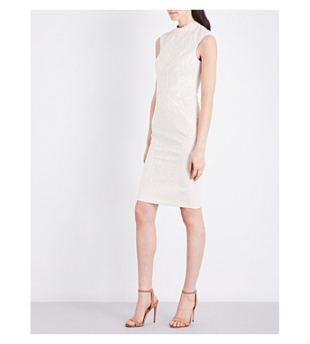 KAREN MILLEN Embroidered sleeveless dress (Cream