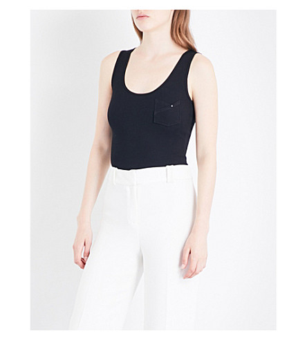 KAREN MILLEN Essential stretch-cotton vest top (Black