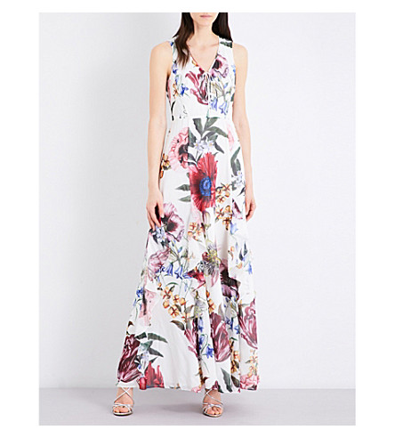 KAREN MILLEN Botanical Bloom chiffon maxi dress (Grey