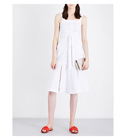 KAREN MILLEN Fit-and-flare broderie anglaise dress (White
