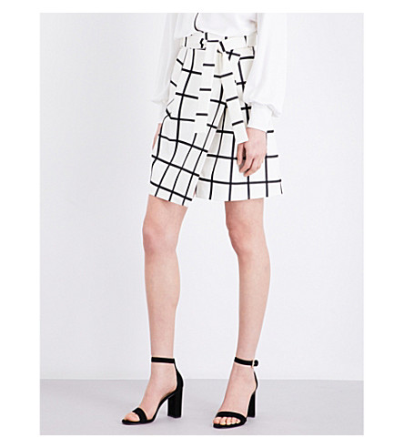 KAREN MILLEN Checked cotton-blend skirt (Multi-coloured