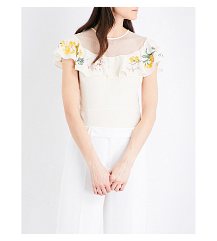 KAREN MILLEN Floral-embroidered crepe top (Yellow