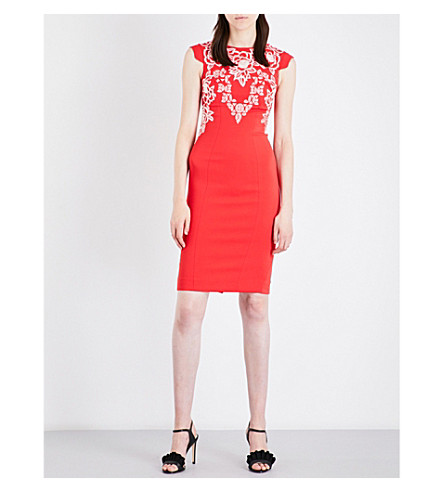 KAREN MILLEN Embroidered fitted crepe dress (Red