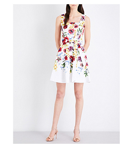 KAREN MILLEN Botanical bloom-print stretch-cotton dress (Multi-coloured