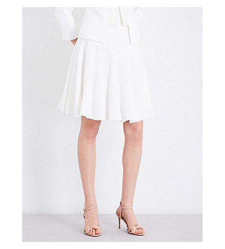 KAREN MILLEN Pleated crepe skirt (Cream