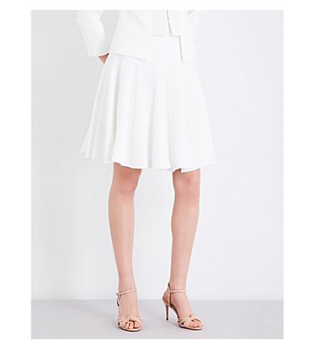 KAREN MILLEN Pleated crepe skirt (Cream
