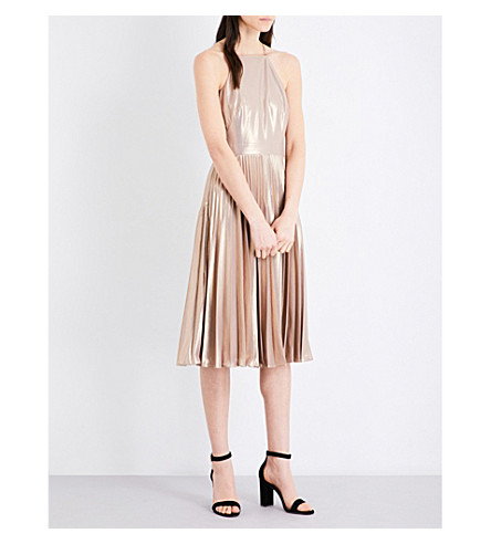 KAREN MILLEN Pleated metallic dress (Gold