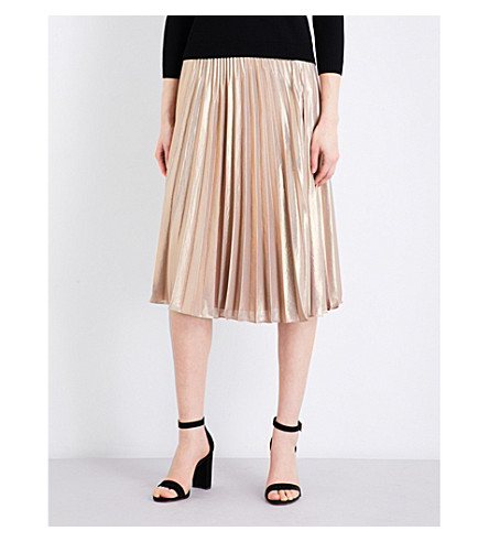 KAREN MILLEN Pleated metallic skirt (Gold