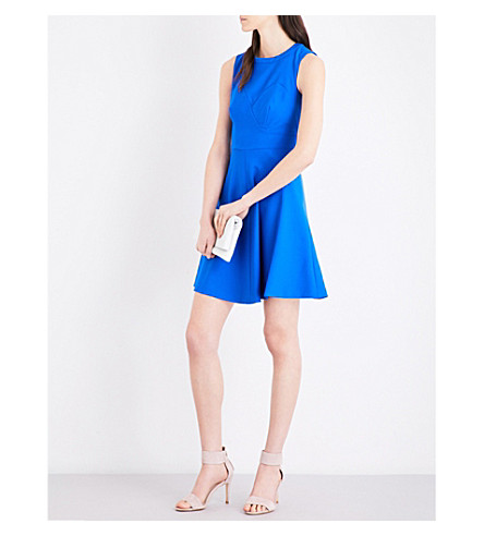 KAREN MILLEN Trompe l'oeil crepe dress (Blue