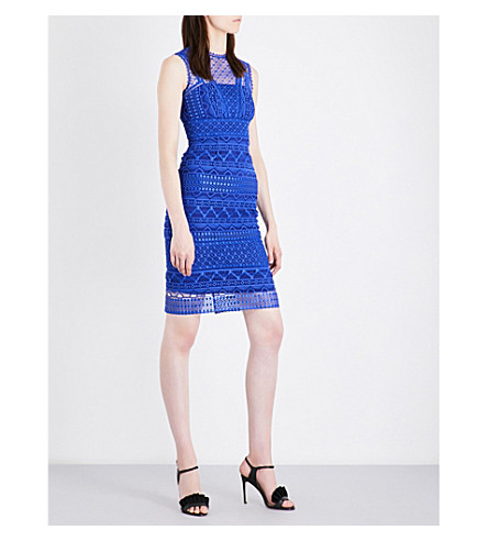 KAREN MILLEN Scalloped-trim lace pencil dress (Blue