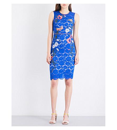 KAREN MILLEN Floral-embroidered lace pencil dress (Blue