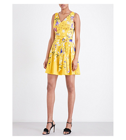 KAREN MILLEN Botanical-print cotton-blend dress (Multi-coloured