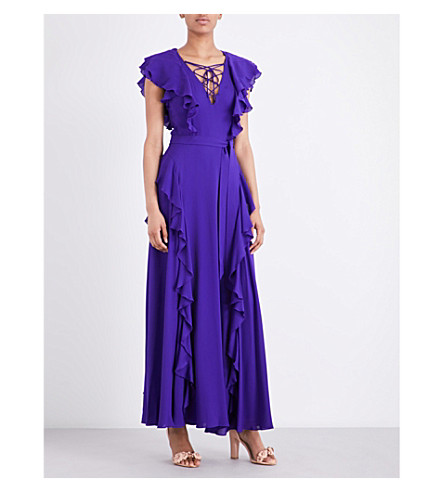 KAREN MILLEN Ruffled crepe maxi dress (Purple
