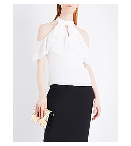 KAREN MILLEN Ruffled woven top (Cream