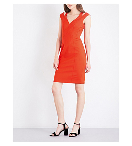 KAREN MILLEN Cutout-detail cotton-blend pencil dress (Bright+orange