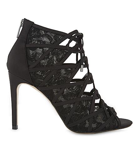 KAREN MILLEN Satin & lace heels (Black
