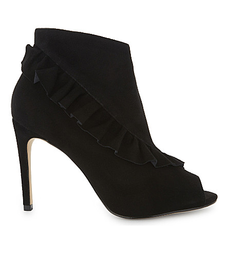 KAREN MILLEN Frilled suede boots (Black