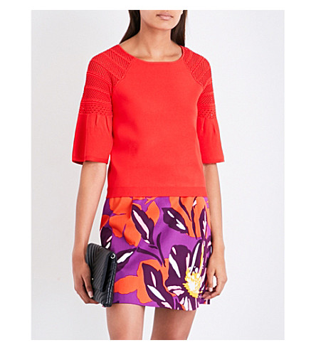 KAREN MILLEN Fluted-sleeve knitted top (Red