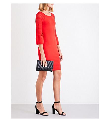 KAREN MILLEN Fluted-sleeve knitted dress (Red