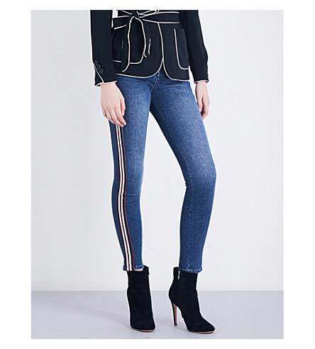 KAREN MILLEN Stripe-detail skinny mid-rise jeans (Blue