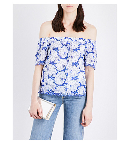 KAREN MILLEN Off-the-shoulder embroidered top (Multi-coloured