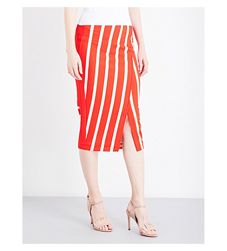 KAREN MILLEN Stripe-print jersey skirt (Multi-coloured