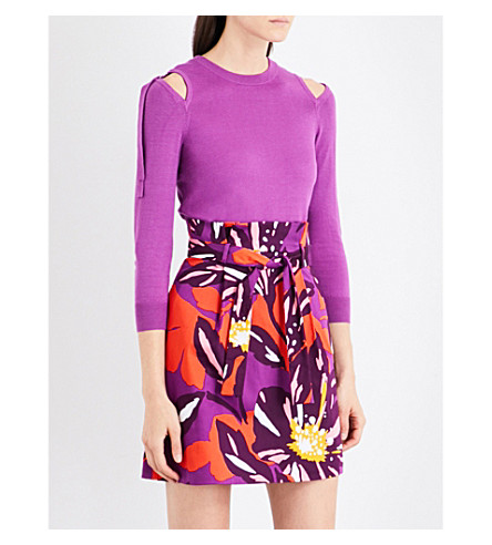 KAREN MILLEN Cold-shoulder knitted jumper (Purple