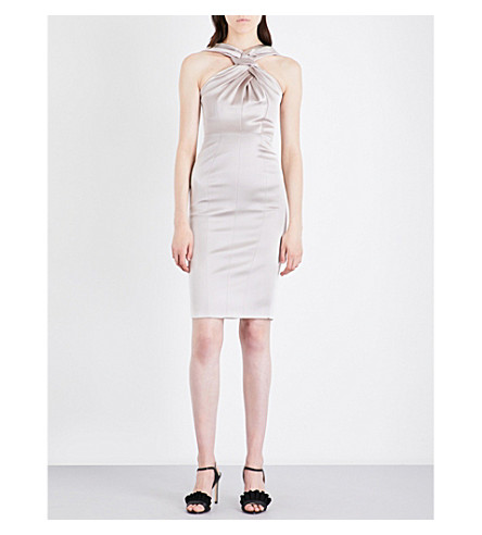 KAREN MILLEN Racerneck satin dress (Cream