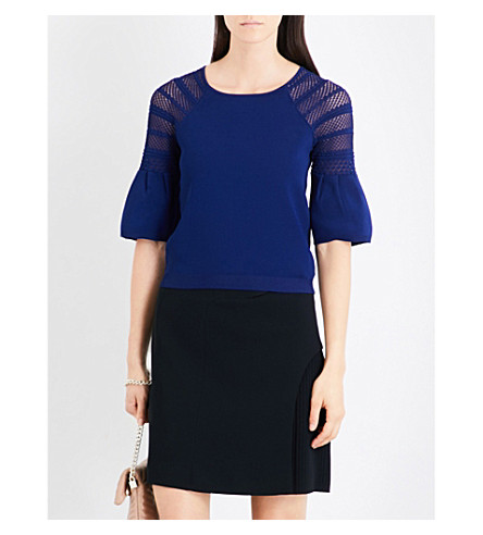 KAREN MILLEN Fluted-sleeve knitted top (Blue