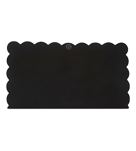 KAREN MILLEN Scalloped goat leather clutch (Black