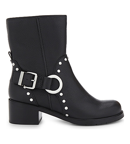 KAREN MILLEN Studded grained leather biker boots (Black