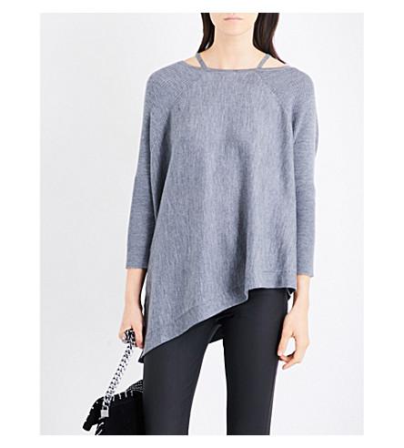 KAREN MILLEN Boat-neck fine-knit wool jumper (Grey