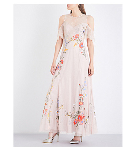 KAREN MILLEN Floral-embroidered lace maxi dress (Cream