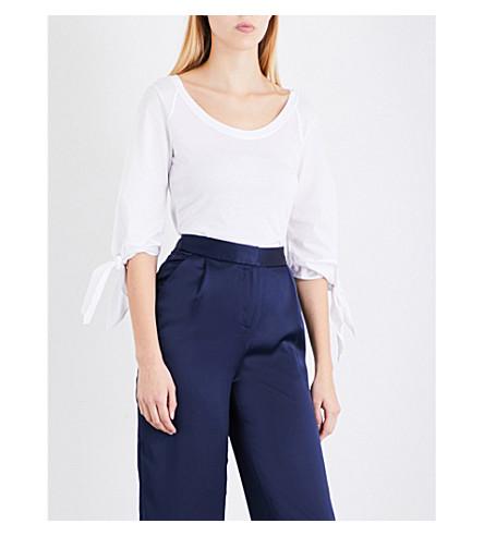 KAREN MILLEN Tie-sleeve cotton top (White