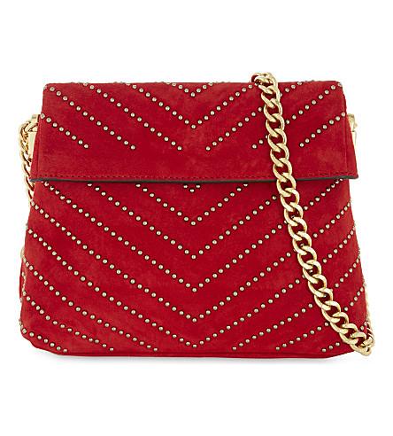 KAREN MILLEN Mini Regent chevron stud suede shoulder bag (Red